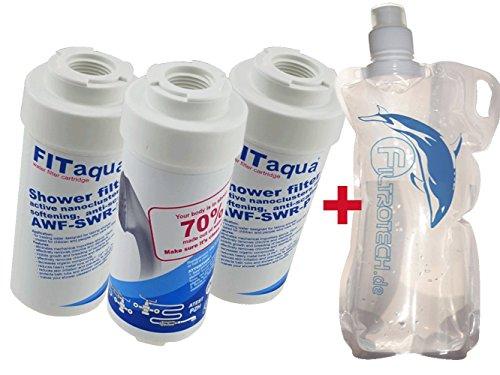 Preisvergleich Produktbild 3x Kalkfilter für Dusche & Badewanne, Duschfilter KDF gegen Kalk und Chlor, verbessert Wasserqualität, Reisefilter, Filter für Duschköpfe