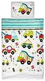 Aminata Kids Kinder-Bettwäsche 100-x-135 cm Auto-s BAU-Fahrzeuge Feuerwehr Baby-Bettwäsche 100-% Baumwolle Renforce Weiss-e bunt-e rot-e grüne Junge-n und Mädchen Streifen