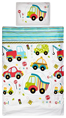 Aminata Kids – Bettwäsche 100x135 cm Kinder Jungen Auto Motorräder LKW Baumwolle Reißverschluss Blau Rot Grün Gelb Streifen Fahrzeuge Wagen Kinderbettwäsche Bettwäscheset Bettbezug (Reißverschluss-motorrad)