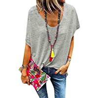 GRMO Womens Plus Size Solid Color Short Sleeve V-Neck Loose Fit Summer T-Shirt Blouse Top Grey 5XL