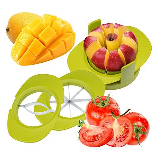 Cortadora de Frutas, 4 en 1 Set de Cortador de Frutas y Verduras con Cortador de Manzana, Cortador de Mango, Cortador de Tomate, Sostenedor de Fruta para Pera/Mango / Tomate/Naranja