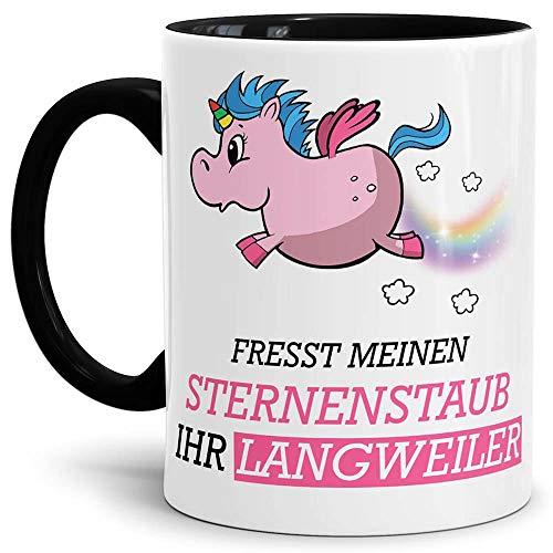 Tassendruck Unicorn/Einhorn/Farbtasse Innen und Henkel Schwarz mit Spruch - Kaffeetasse Mug Cup...