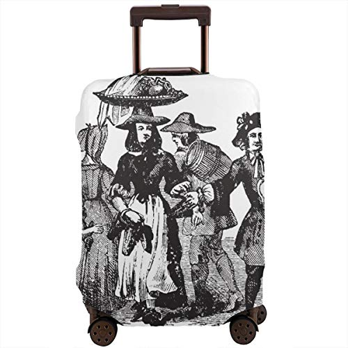 Travel Suitcase Protector,Queen Anne Costumes Worn During Queen Anne Rule Vintage Line Drawing Or Engraving Illustration,Suitcase Cover Washable Luggage Cover L -
