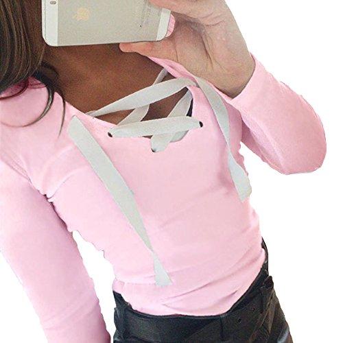 Hibote Femme Chemises à Manches Longues T-Shirt Femmes Chemise Slim Fit Top avec Cordon Couleur Unie Blouses Casual Tops Rose