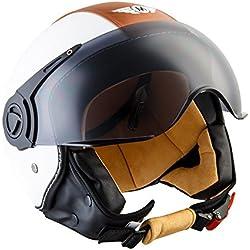 Moto Helmets H44 - Helmet Casco de Moto , Blanco/Cuero, M (57-58cm)