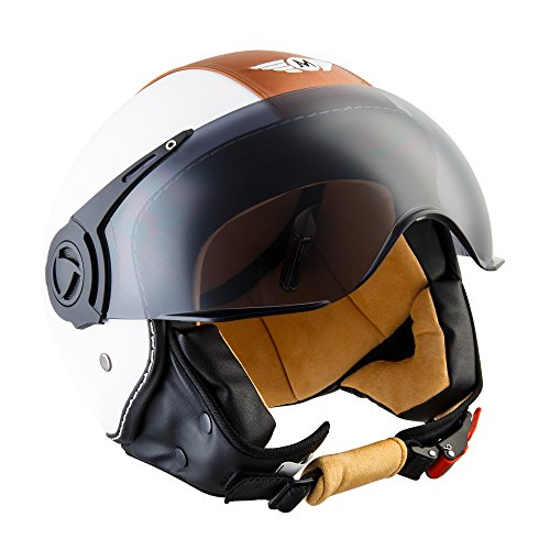 "Moto Helmets® H44 \""Vintage White\"" · Jet-Helm · Motorrad-Helm Roller-Helm Scooter-Helm Bobber Mofa-Helm Chopper Retro Cruiser Vintage Pilot Biker · ECE Visier Schnellverschluss Tasche S (55-56cm)"