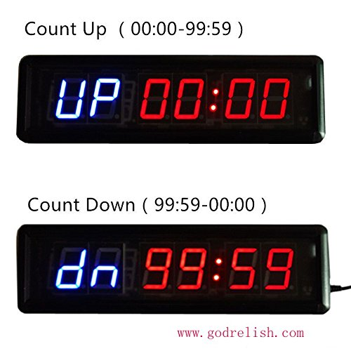 Godrelish Crossfit Fitness Interval Timer Stopwatch Wall Clock IR Remote Control(14
