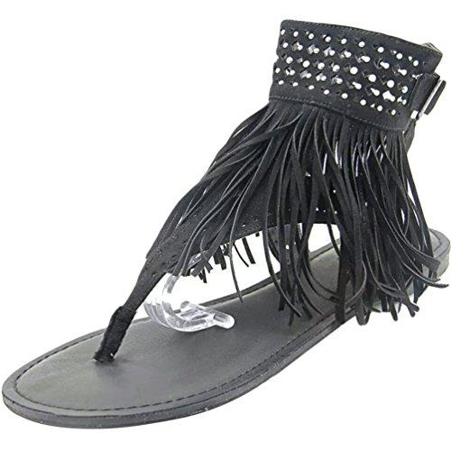 NiSeng Femme Peep Toe Houppe Faux Diamant Sandales Élégant Bohême Flip Flops Sandales Noir