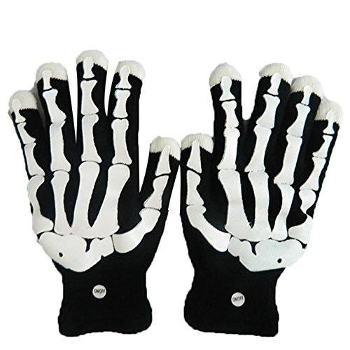 MultiColor blinkt Skeleton Handschuh für Clubs, Raves, Festivals, Halloween, Lagerfeuer Nacht, Party, Spiele, Fäustlinge auf Winter Party (Herbst-festival-halloween-spiele)