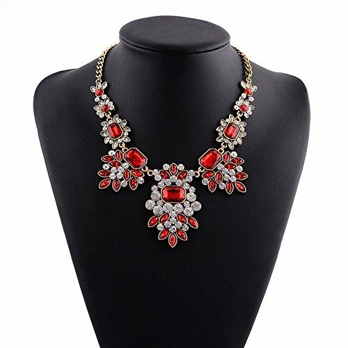 Thumby Griechisch für Frauen Götter Ägyptischen Falschen Kragen Übertrieben Kurzen Diamant Halskette für Frauen Mode Lange Bekleidungszubehör, rot (Kragen Halskette ägyptische)