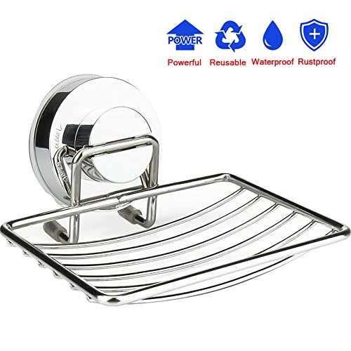 Diossad Soap Dish Holder Stainless Steel Vacuum Suction for Bathroom