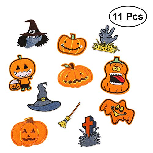 Healifty Halloween Kürbis Patch Sticker DIY Kleidung Patches Aufkleber Halloween Party Deko 11 Stück