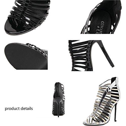 Beauqueen Gladiatoren OL Party Rom Sandalen Reißverschluss Stiletto High Heel Frauen Peep Toe Casual Sandalen 35-40 Black