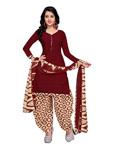 Rajnandini Women\'s Cotton Printed Dress Material(JOPLVSM3841_Maroon_Free Size)