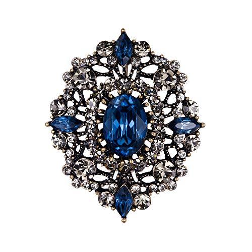 Ever Faith Damen Kristall Hochzeit Retro Aushöhlen Floral Filigrane Brosche Blau Antik Gold-Ton