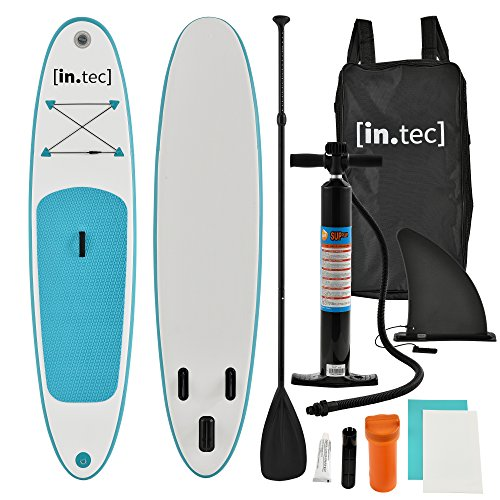 [in.tec] SUP - Stand Up Paddle gonfiabile - Paddle Board - 305 x 71 x 10cm - Turchese/Bianco - Remo in alluminio - Pompa manuale