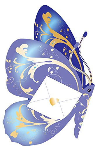 SDC003 Grußkarte, Motiv Daisy Cat Indigo butterfly -
