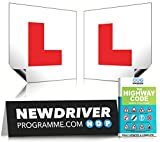 Fully Magnetic L Plates by New Driver Programme | Extra Thick Strong Magnetic Learner Plates Guaranteed To Not Fly Off At High Speeds, 2 Pack