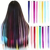 30 pezzi Clip colorata per estensioni dei capelli 20 pollici Arcobaleno Resistente al calore Sintetico Evidenziazione Diritta Pezzi per capelli Moda Cosplay Party Clip per Bambini Ragazze (15 colori)