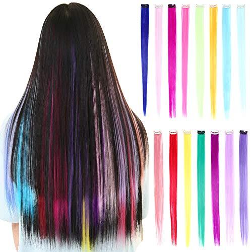 30 piezas Clip de colores en extensiones de cabello 20 pulgadas Rainbow al calor Sintético Rectos resaltados...