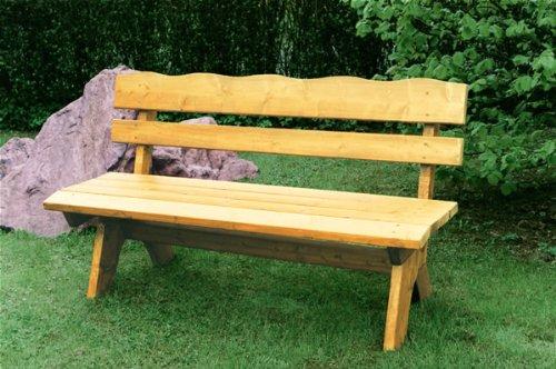 TPFGarden Gartenbank / Holzbank DRIEBURG 150cm 3-sitzer aus Kiefer massiv | Holz von höchster Qualität | Farbton: Kiefer hellbraun imprägniert | 1 Stück
