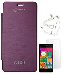 DMG Hot Pressed Durable Leather Flip Cover for Micromax Unite 2 A106 (Purple) + White Earphones + Matte Screen