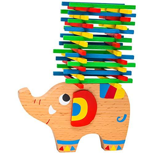 Natureich Torre di legno Elefante Montessori giocattolo in legno per imparare l'abilità a imparare con i bastoncini colorati / colore naturale (multicolore)