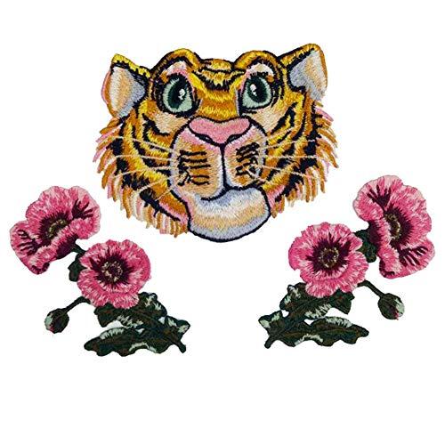 Monbedos Buntes Blumen-Stickerei-Applikation für Kleidung, Kleid, Hut, Jeans, Nähen, Blumen-Applikation, Zubehör