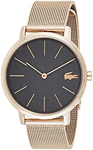 Lacoste Women's Black Dial Ionic Plated Carnation Gold Steel Watch - 200