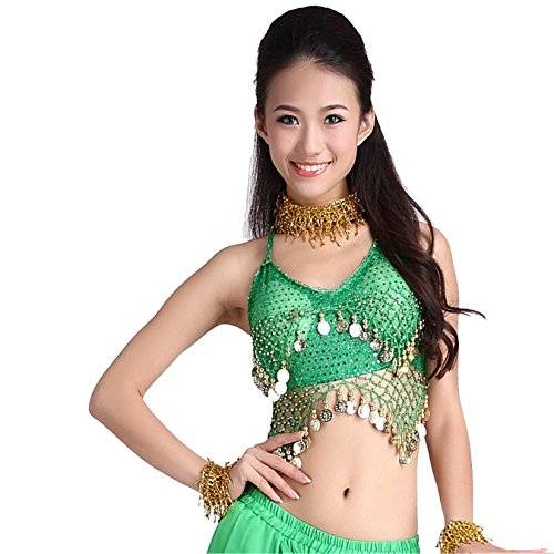 Danza Tops Danza del ventre Costume Blouse Belly Tops With Coins Halter Bra Top