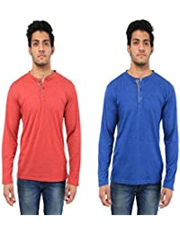 Five Stone Combo Pack Of 2 Solid Round Neck Red & Blue Coloured With Full Sleeve T-Shirt For Men