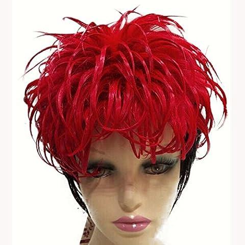 Resistente al calor de fibra corta recta Negro Rojo partido peluca para cosplay