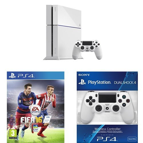 Pack PlayStation 4 500Go blanche + Fifa 16 + 2ème manette PS4 Dual Shock 4 blanche