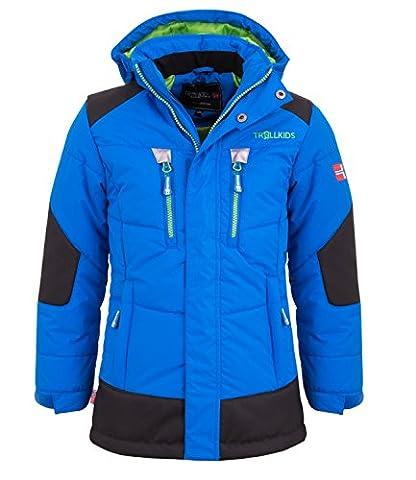 Trollkids Kinder gefütterter Winter-Parka, Ski- und Schneejacke Narvik, Mittelblau / Grün, Größe 164