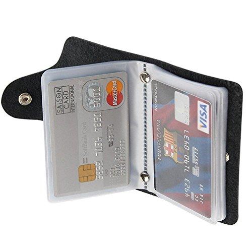 Weiches Leder Kreditkarte Halter Wallet Pocket ID Business Card Case Geldbörse Schwarz Schwarz (Card Business Leder Wallet)