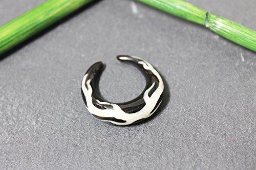 Naturesco Horn Ohrring Piercing Expander Spirale mit Flammen-Motiv aus Horn 6mm braun - Versand kostenlos! (Flamme Ohrringe)
