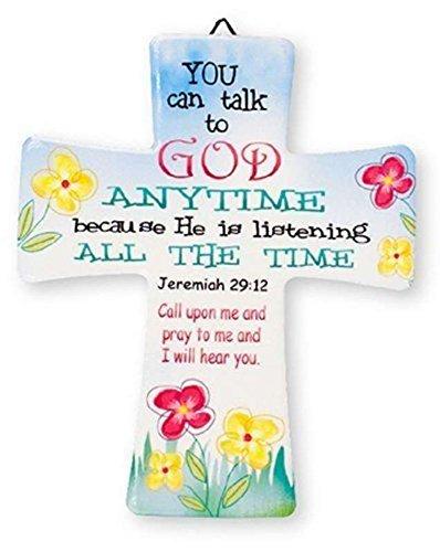CBC Deko Keramik Wand Kreuz Sie können jederzeit Talk to God–crucfix Kreuz Floral Decor