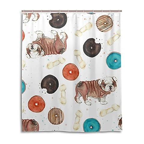 Bad Vorhang für die Dusche 152,4x 182,9cm, Cute Puppy Dog Bulldog Knochen Donuts Muster, Polyester-Schimmelfest-Badezimmer Vorhang