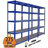 3bahía resistente garaje estantería de acero–estantería (275kg por estante (5niveles 1800mm H x 900mm W x 300mm D) se envía con mazo de goma