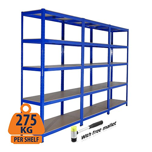 3 bay heavy duty steel scaffali scaffalature garage 275 kg per ripiano (5 livelli 1800 mm altezza x 900 mm larghezza x 600 mm d), fornito con free martello di gomma