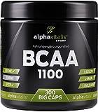 BCAA 1100 300 BCAA Kapseln ohne Magnesiumstearat - 1100 mg + B6 - glutenfrei - laktosefrei – alphavitalis SPORT® - essentielle Aminosäuren