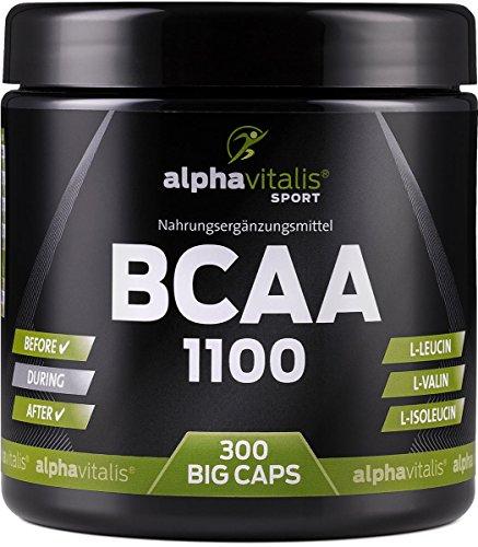 BCAA 1100-300 BCAA Kapseln ohne Magnesiumstearat - 1100 mg + B6 - glutenfrei - laktosefrei – alphavitalis SPORT® - essentielle Aminosäuren/hochdosierte BCAAs