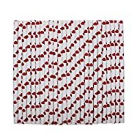 tecmac Eco-Friendly and Disposable Red Heart Shape Design Paper Straws | 6 mm | 50 Pieces