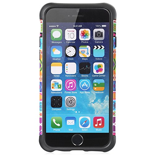 "Fosmon HYBO-TRIBAL Abnehmbar Hybride TPU + PC Case Cover hülle für Apple iPhone 6/6s (4.7"") - Schwarz / Klein Diamant Black/Small Diamond"