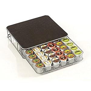 Contenitore Cassetto Porta Capsule Cialde Caffè Metallo 30-60 Posti con Piano Poggia Macchina del Caffè Coffee Capsule…