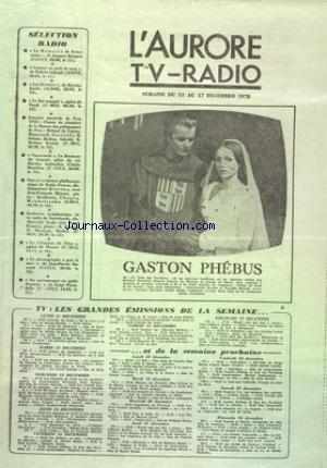 AURORE TV RADIO (L') du 11/12/1978 -...