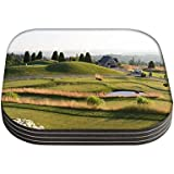 Snoogg Golf Park Quadrat Tisch 4Stück Untersetzer/Tisch und Küche Zubehör-Set für Getränke Set quadratisch, 4Stück handgefertigt Untersetzern aus Holz
