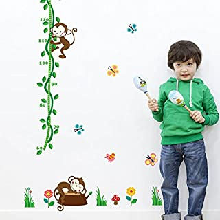 AWAKINK Lovely Monkey Butterflies Green Branches Height Measurement Growth Chart Wall Stickers Removable Wall Vinly Decal Decor for Girls and Boys Nursery Room Children's Bedroom