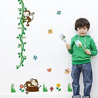 awakink Lovely Monkey Schmetterlinge grün Zweige Höhe Messung Messlatte Wandaufkleber Abnehmbare Vinyls Aufkleber Decor für Mädchen und Jungen Kinderzimmer Kinder Schlafzimmer