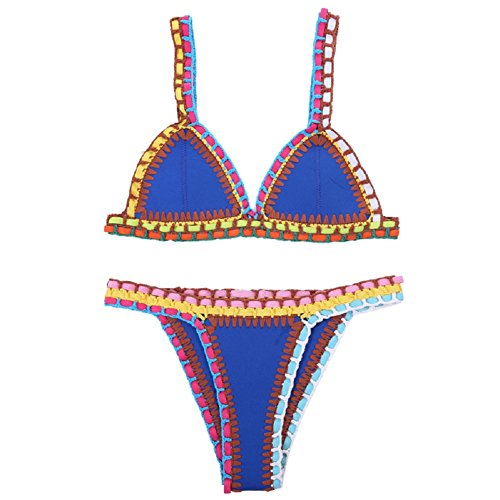 Ducomi OH MY! Bikini's Crochet Costume in Neoprene Triangolo Push Up - In Regalo un Fantastico Omaggio del Valore di 39 (S, Blu)